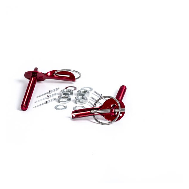 RED ALUMINUM BONNET PIN KIT